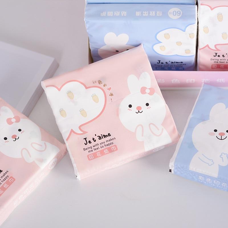 Rabbit Color Kleenex Printed Handkerchief Paper Portable Napkin Toilet Paper Small Soft Tissue Paper Mixed Batch