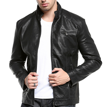 Mens Leather Jacket  Men's Washable PU Leather with Thick Stand-up Collar Cuff Zipper Quality Motorcycle Leather Jacket цена 2017