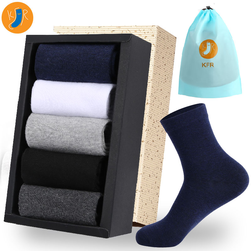 5Pairs/Lot 2019 Men's Cotton Socks New Styles Long Socks Business Casual Mens Dress Sock For Gift Plus EUR 39-45 With Bag