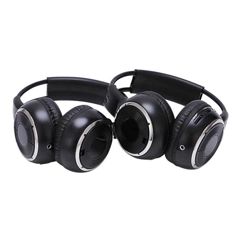 2 x Double Infrared Stereo Wireless Headphone Headset IR Car DVD Player Headrest Black