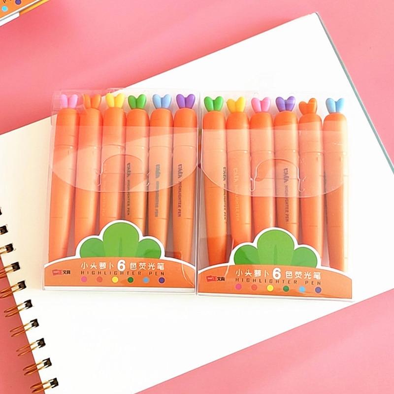6 Colors/set Kawaii Carrot Highlighter Cute Drawing Painting Art Marker Pen School Supplies Stationery Gift