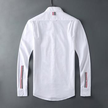 2021 Fashion TB THOM Brand Shirts Men Slim White Long Sleeve Casual Shirt Turn Down Collar Oxford Cuff ribbons Men's Clothing 1