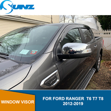 Car door visor for Ford Ranger  T6 T7 T8 2012-2019 side window deflectors rain guards for Ford Ranger T8  2019 accessories SUNZ new ford ranger vip toys