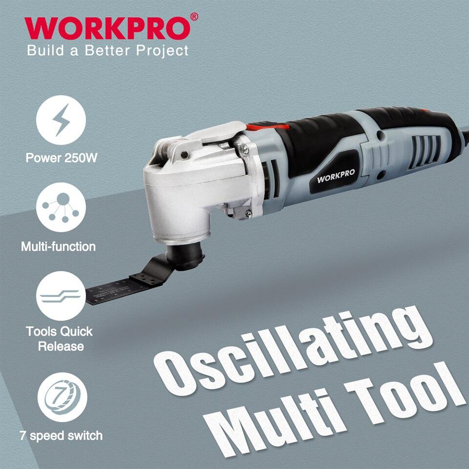 Herramienta eléctrica oscilante multifunción WORKPRO 250W herramienta eléctrica de mano de velocidad Variable con accesorios cortador eléctrico