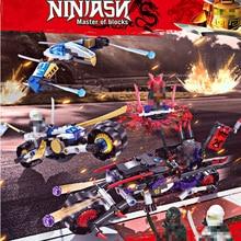 цена на 360pcs Ninjagoes Model Building Blocks Phantom Phantom Ninja Giant Wheel Motorcycle Plane Sets Bricks Toys For Children Gift Kid