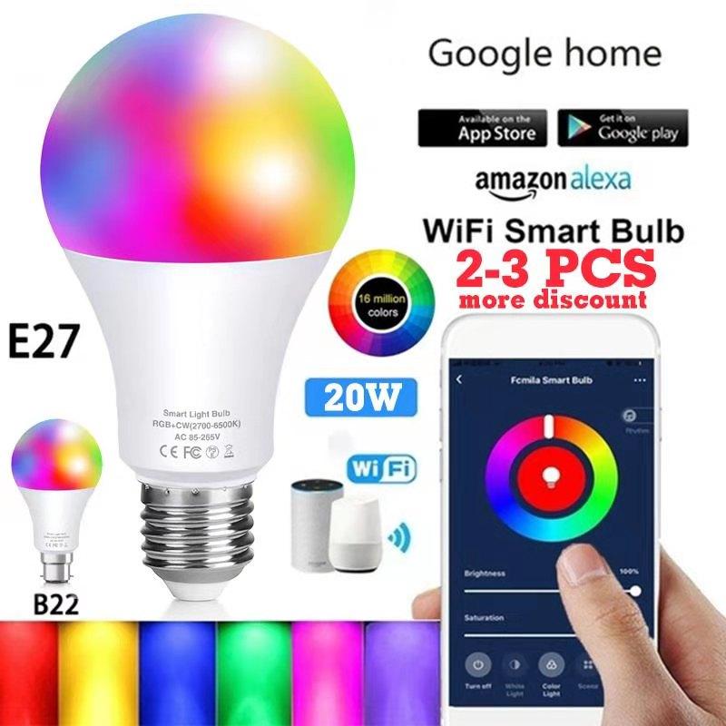 Wi-Fi, умный светильник лампочка E27/B22 работать с Alexa/Google Home RGB светодиодные лампы или ИК-пульт дистанционного Управление LED Lampas вечерние Декор д...