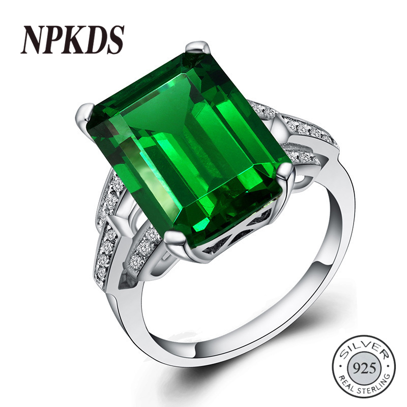 NPKDS Vintage Emerald Ring 925 Sterling Silver Rings For Women Silver 925 Big Green Gemstone Engagement Ring Jewelry Size 6-10