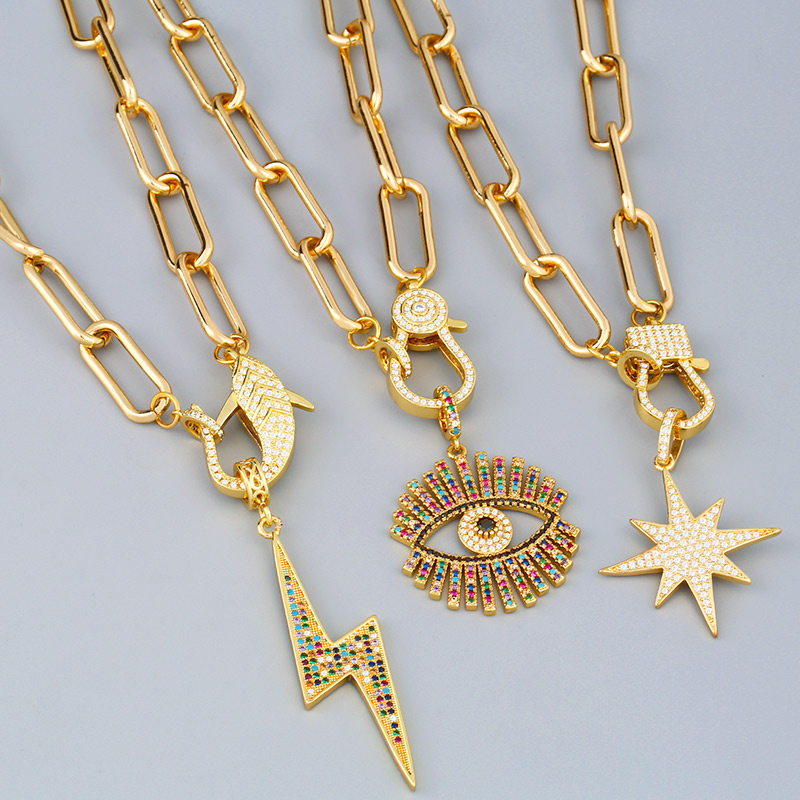 FLOLA Gold Fatima Hand Evil Eye Chain Necklaces For Women Horn Lightning DIY Big Pendant Necklace CZ Fashion Jewelry Gift nkeq81