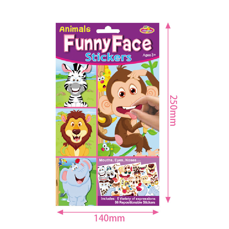 9pcs/set Stickers DIY Cute Stickers Children Puzzle Games Make-a-Face Princess Animal Dinosaur Assemble Toys for Girls Training 6