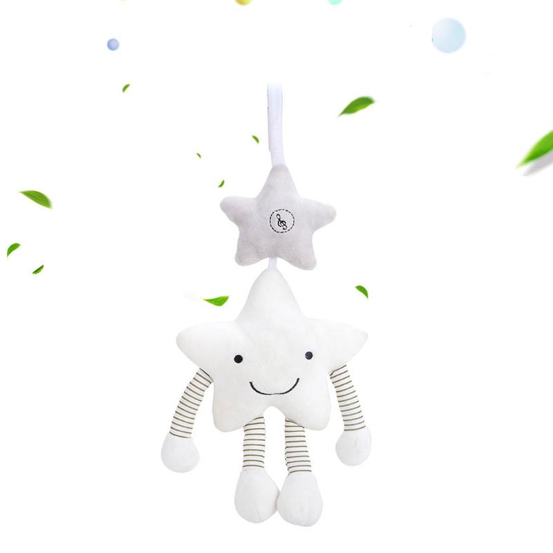 0-12 Months Baby Rattles Plush Star Music Hanging Rattles Mobile To Bed Stroller Toy Soft Cute Comfort Toy Infant Newborn Toys