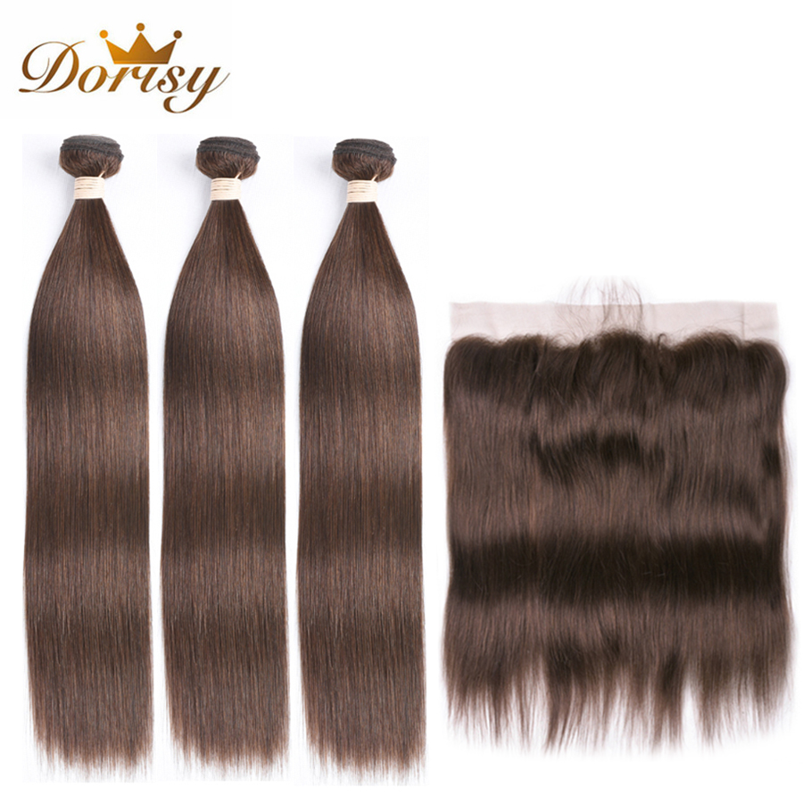 Brown Bundles With Closure Peruvian Straight Human Hair Bundles With Lace Frontal Dorisy 4# Non Remy Human Hair Extensions