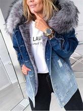 Джинсовая куртка для женщин Градиент Цвет отверстие флисовый