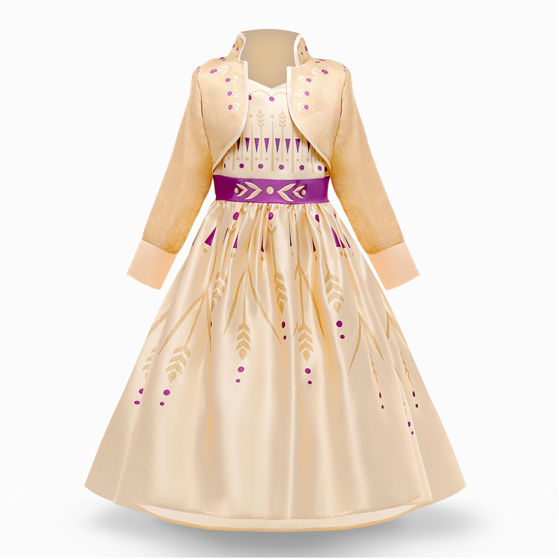 Girls Princess Dresses for 4-10T Children Kids Halloween Cosplay Costume Role-play Clothing Dress 3