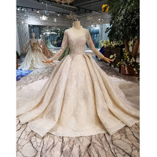 BGW HT43019 Luxury Wedding Dress With Long Train Lace Sequined Shiny Handmade Wedding Gown Long Sleeves Muslim Gown
