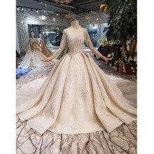 BGW HT43019 Luxus Hochzeit Kleid Mit Lange Zug Spitze Pailletten Glänzende Handgemachte Hochzeit Kleid Mit Langen Ärmeln Muslim Kleid