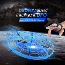 Anti-collision Hand Induction Flying UFO LED Mini RC Drone USB Infrared Intelligent Watch RC Sensor Aircraft Flying Toys Balls(China)
