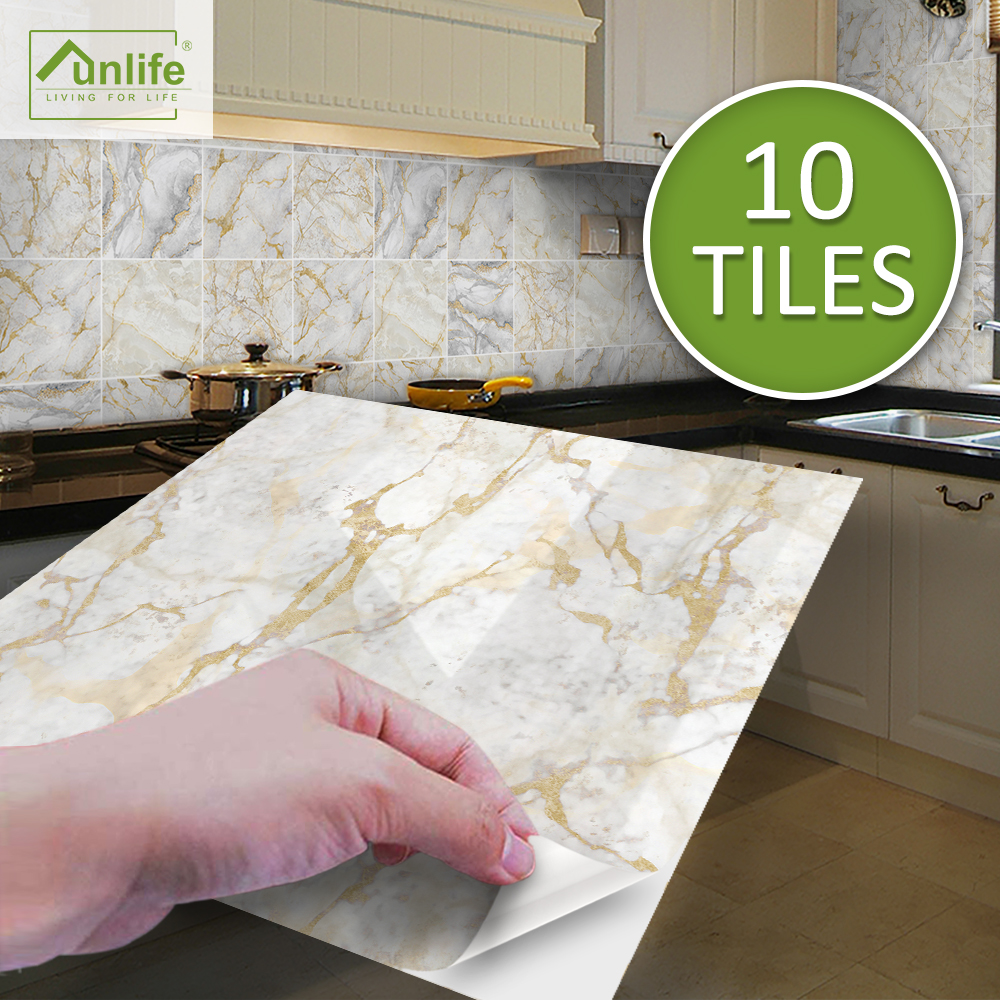 funlife brilliant 15 20cm white and gold marble tile sticker waterproof wall art backsplash for bathroom kitchen home decor