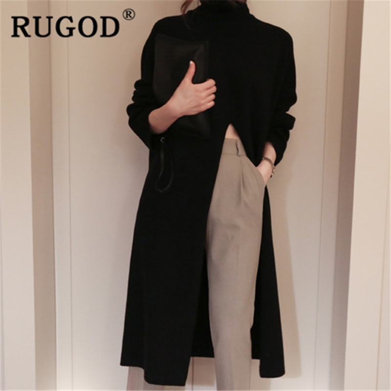 RUGOD 2019 New autumn snow warm sweater dress for women turtleneck high waist split knit dress fashion femme elegant modis lady