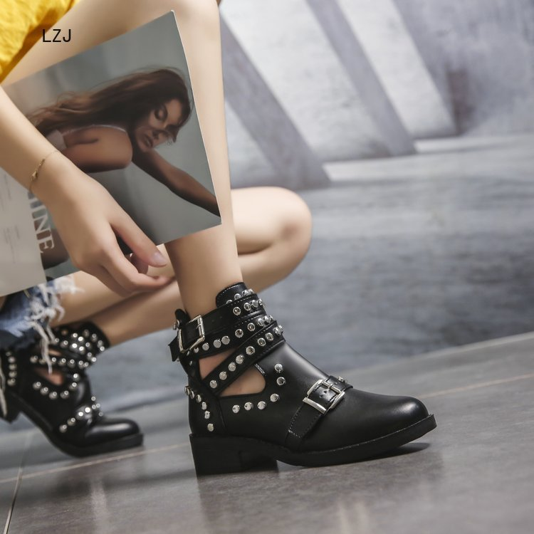 LZJ 2020 Buckle Ankle Boots For Women PU Leather Fashion Rivet Low Heel Shoes Women Motorcycle Boots Autumn Women Martin Boots 4