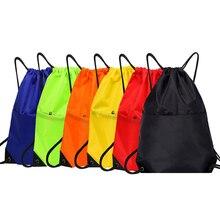 Waterproof Zipper Gym Sport Fitness Bag Foldable Backpack Drawstring Shop Pocket Hiking Camping Pouch Beach Swim Bag