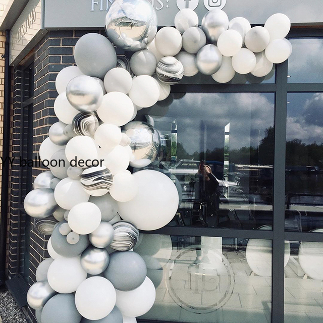 143pcs DIY Balloons Garland Arch White Grey Agate Black Metal Silver Marble Baby Shower Birthday Party Wedding Decor