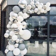 143pcs palloncini fai da te ghirlanda arco bianco grigio agata metallo nero argento marmo Baby Shower festa di compleanno decorazioni di nozze