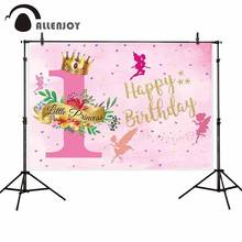 Allenjoy spring floral photo backdrop crown Fairy tale happy birthday little princess party photography background photophone(China)