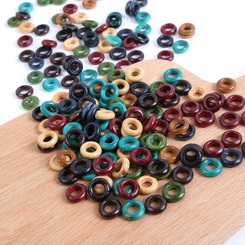 100pcs/lot 13mm Wood Hair Braid Rings Accessories Clips for Women and Girls Dreadlocks Beads Set