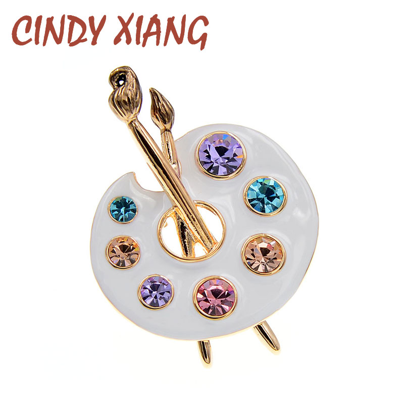 Suit Accessories Brooch Rhinestone-Pins Cindy Xiang Men Pin Draw Creative Palette And
