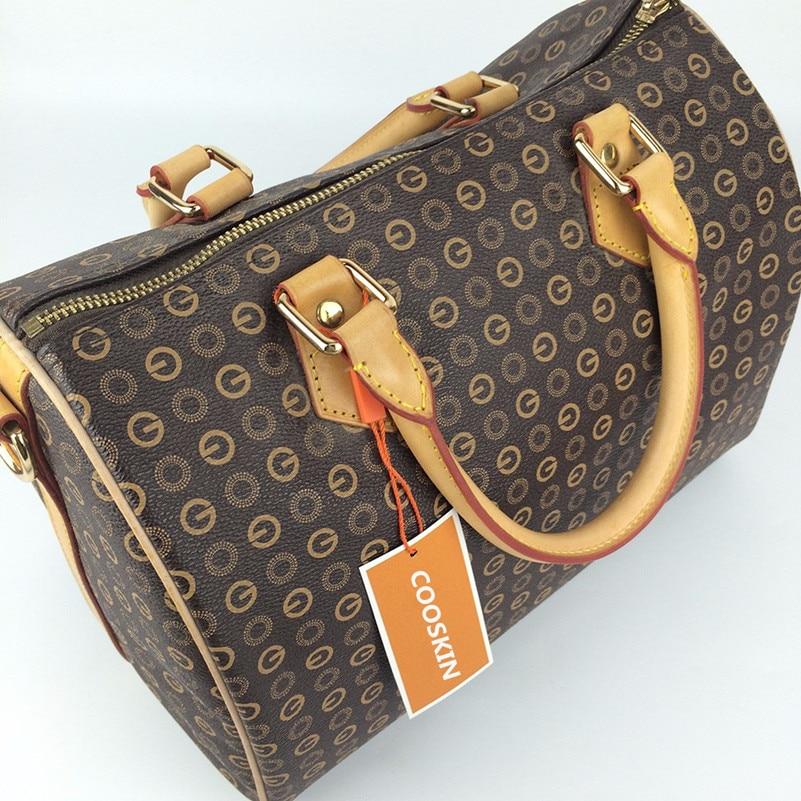COOSKIN fashion classic women's handbag SPEEDY canvas Boston bag Crossbody bag Oxidized leather handle Initials Hot stamping