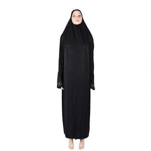 Image 3 - Muslim Women Modest Prayer Long Dress Abaya Full Cover Hijab Overhead Kaftan Jilabb Islamic Bat Sleeve Niqab Jilbab Robe Dubai