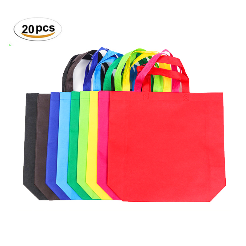 20Pcs Multi-use Gift Bag With Handle Women Shopping Bag Solid Color Non-woven Kids Birthday Party Favor DIY Craft Gift Tote Bags