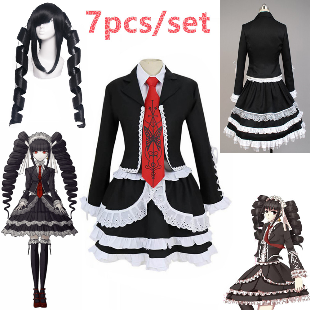 7pcs/set Danganronpa Dangan Ronpa Celestia Ludenberg Cosplay Costume Custom Made Dangan Halloween Party Fancy Dress Free Ship