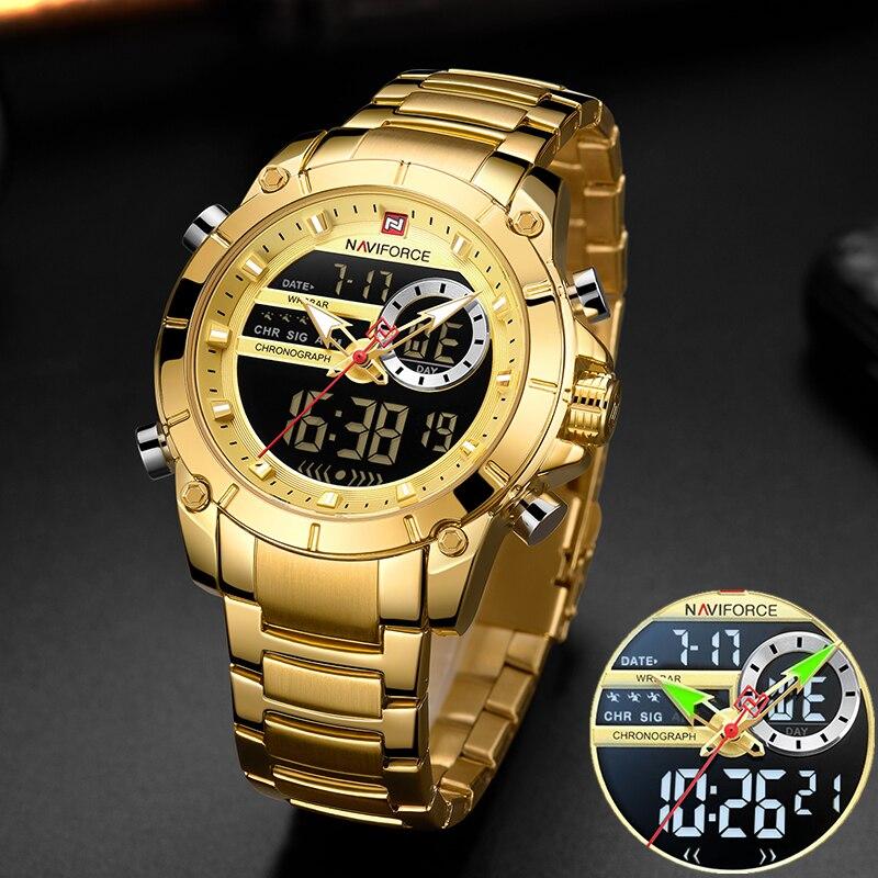 NAVIFORCE hommes militaire Sport montre-bracelet or Quartz acier étanche double affichage mâle horloge montres Relogio Masculino 9163