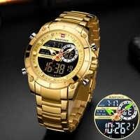 Naviforce homens militar esporte relógio de pulso ouro quartzo aço à prova ddual água dupla exibição masculino relógios relogio masculino 9163
