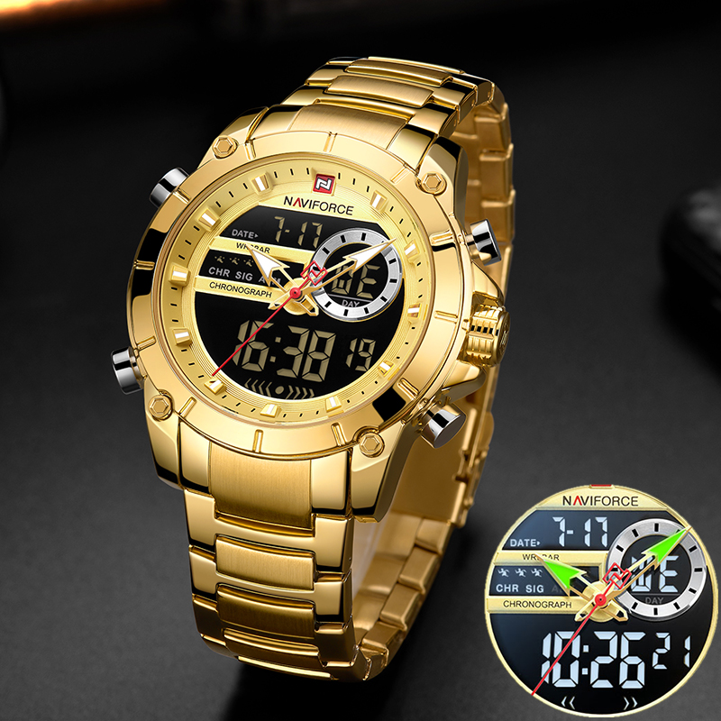 Relógio de Pulso Aço à Prova Naviforce Homens Militar Esporte Ouro Quartzo Ddual Água Dupla Exibição Masculino Relógios Relógio 9163