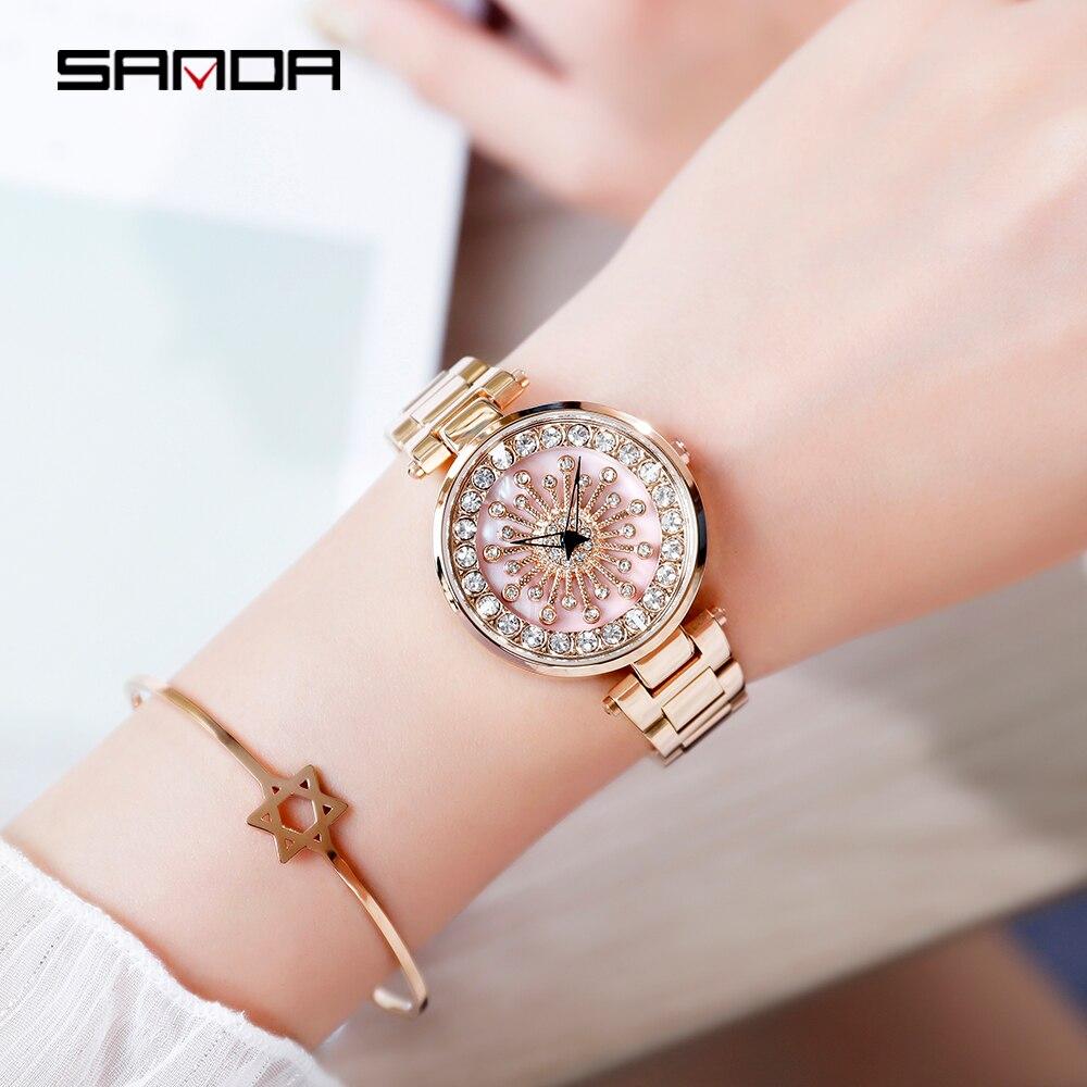 SANDA Luxury Women's Watches Fashion Diamond Quartz Watch Women Stainless Steel Bracelet Wristwatches Female Waterproof Clock