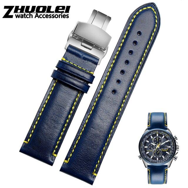 Bracelet de rechange Citizen AT8020 JY8078, en cuir véritable, 23mm, bleu bracelet de montre, avec bracelet à boucle pliable