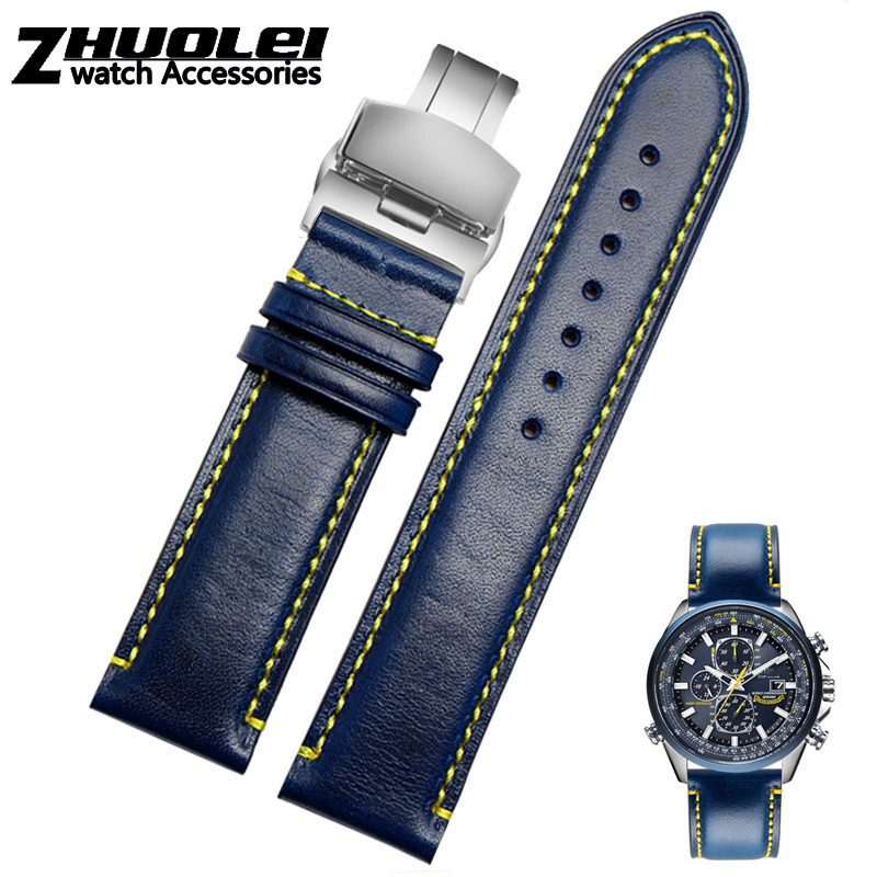 For Substitute Citizen AT8020 JY8078 Wristband Genuine Leather Strap 23mm Blue Watch Band With Folding Buckle Bracelet