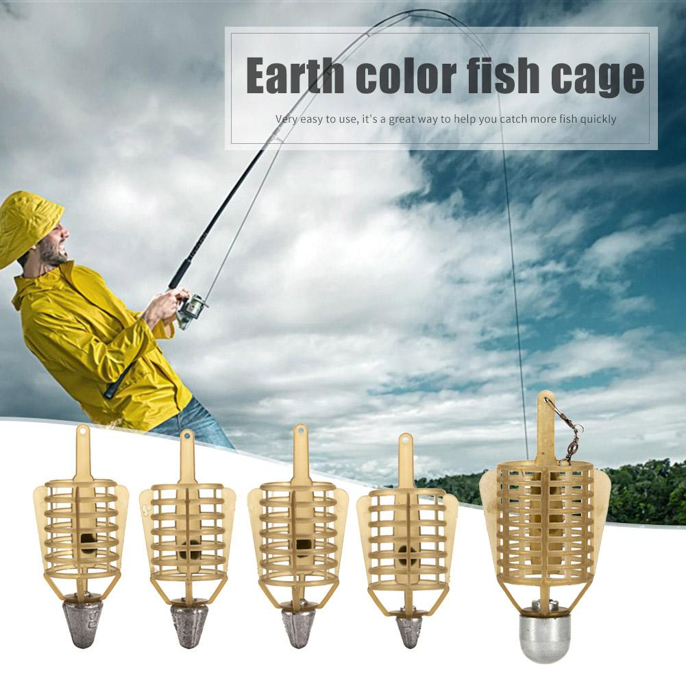 Boat Carp Fishing Bait Feeder Cages Lure Holder Basket Cage Fishing Trap Lead Sinker Plastic Fishing Lure Cage Random Delivery