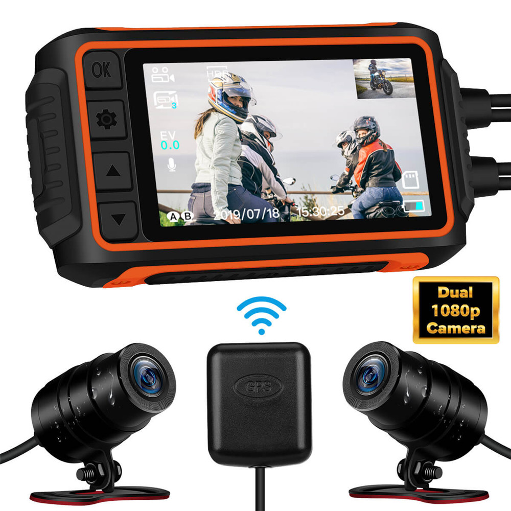 WonVon A10-Cámara de salpicadero WiFi para motocicleta 1080P, 3 pulgadas, grabación, cámara Dual, DVR con GPS, visión nocturna, resistente al agua