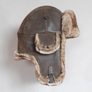 Image 4 - ฤดูหนาวหมวกรัสเซีย Ushanka หมวกผู้ชายผู้หญิง Faux FUR Trapper หมวกหมวก PU หนังลม PROOF Earflap Trooper หมวก