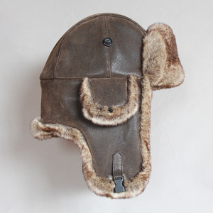 Image 4 - Winter Bomber Hoeden Vintage Russische Ushanka Caps Mannen Vrouwen Faux Fur Trapper Hoed Pu Leer Wind Proof Oorklep Trooper Hoeden