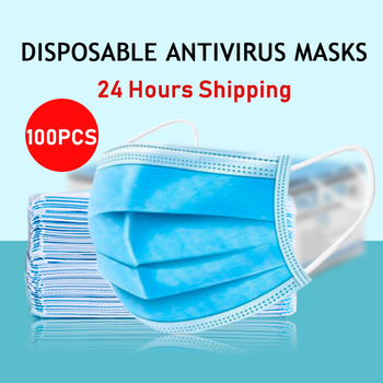 100 pcs 3 Layer Masks Fast delivery Non-woven Dust Mask Thickened Disposable Mouth Mask Features