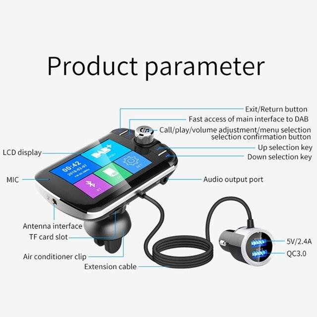 Radio de coche DAB + sintonizador de Radio receptor de radiodifusión Digital con FM convertidor del transmisor Plug and Play adaptador USB cargador