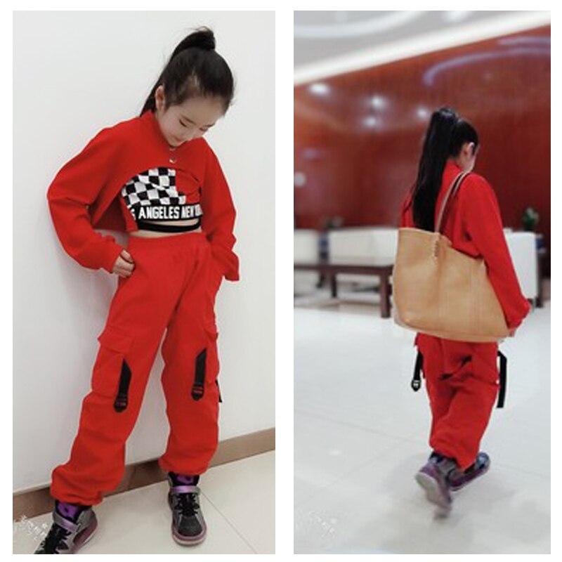 Costumes de danse de Jazz pour enfants, Hip Hop, Costumes de scène pour filles, hauts rouges à manches longues, gilet, gilet, danse rue, tambour, DQL2918