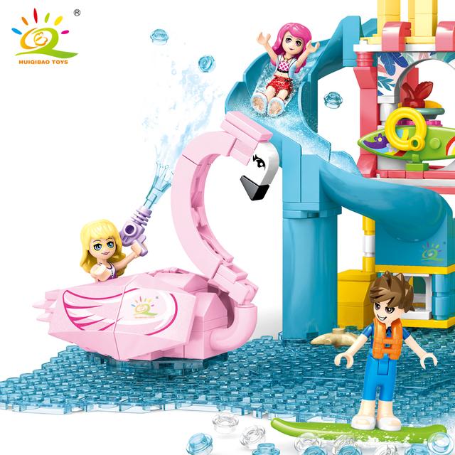 HUIQIBAO 971pcs Friends heartlake Summer Fun Water Park Building Blocks for Girls city architecture car Bricks set Children Toys