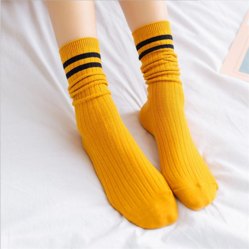 1 Pair Spring And Summer Trend New Pile Of Socks Wild  High Socks College Wind Japanese Striped Breathable Socks