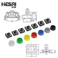 Interruptor de botón táctil, pulsador momentáneo de 12x12x7,3 MM, Micro botón + 5 colores, tapa táctil para Kit de bricolaje