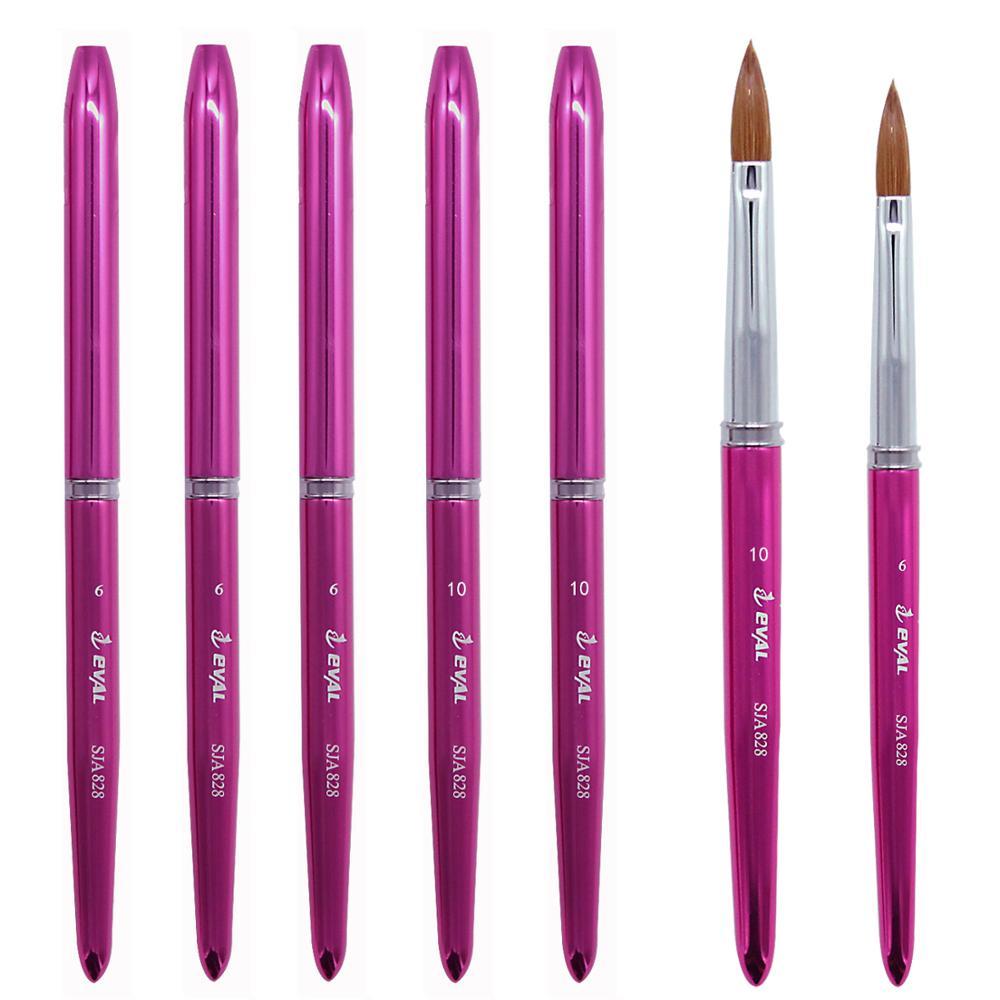 1PCS Eval 100% Kolinsky Sable Hair Acrylic Nail Brush 6# 10# Professional UV GEL Nail Art Tools Nail Beauty Supplies